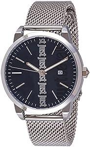 ساعة انالوج عصرية من جاست كافالي للرجال بمينا زرقاء وسوار من الستانلس ستيل - JC1G141M0065