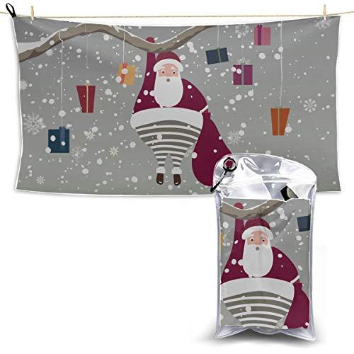 WOCNEMP Der Weihnachtsmann, der am Baumast hängt Mikrofasertuch Mädchen-Spaß-Badetuch Mens-Sport-Tuch Mikrofasertuch-Satz 27,5