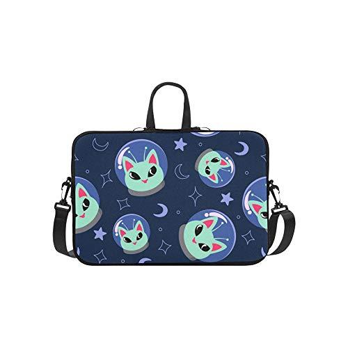 Ausländischer Katzenraum auf blauem Aktenkoffer-Laptoptasche-Kurier-Schulter-Arbeitstasche Crossbody-Handtasche für das Geschäftsreisen (Macbook-hülle Alien)