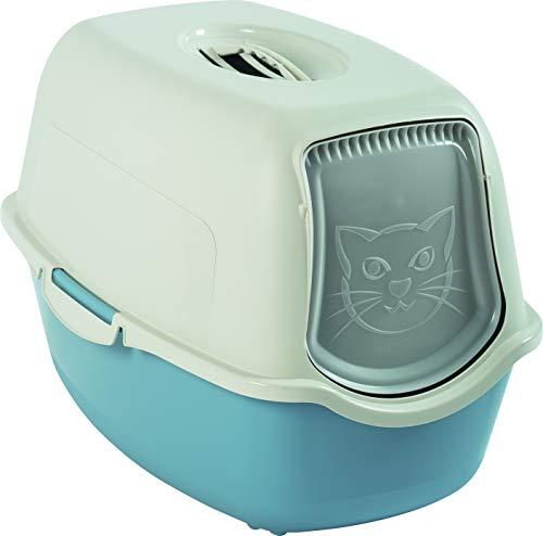 Rotho 4552906130 bailey - lettiera per gatti con coperchio, colore: blu colombia/bianco