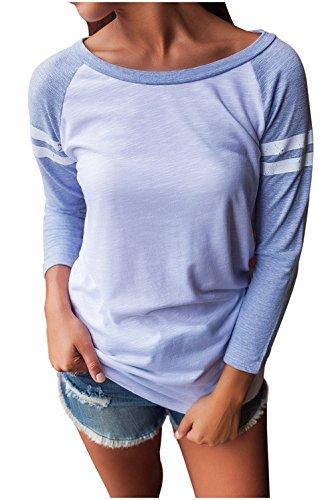Femme Col Rond T-Shirt Lâche Tee-Shirt Grande Taille Manches Longues Basique en Rayure Tops Casual Blouse Vêtements de Vacances Printemps YOSICI Bleu
