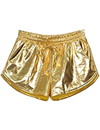 a3fba512 Hibote Womens Patent Leather Loose Style Hot Boxer Shorts Shiny Metallic  Short Wetlook Fashion Clubwear Workout