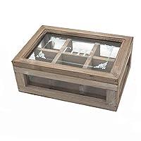 chemin_de_campagne Boîte Coffret de Rangement à Thé en Bois Vitrée 25.50 cm