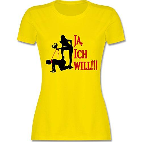 JGA Junggesellinnenabschied - Ja ich will - tailliertes Premium T-Shirt mit Rundhalsausschnitt für Damen Lemon Gelb