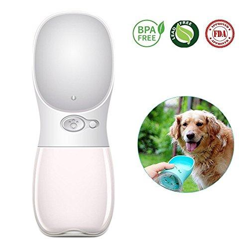 TFENG Hunde Wasserflasche, Tragbare Travel Hund Katze Haustier Trinkflasche für Reise Camping, Wandern, Training, Unterwegs (Size S,Weiß) -