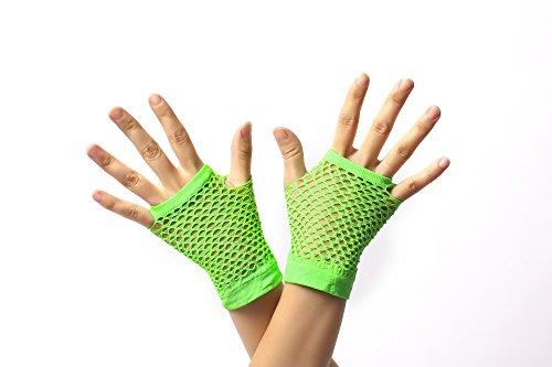 DRESS ME UP - RH-005-green Handschuhe Netzhandschuhe Grün Neongrün fingerlos fingerfrei Netz kurz 80er Punk Rocker Wave Gothic (Grüne Für Handschuhe Erwachsene)