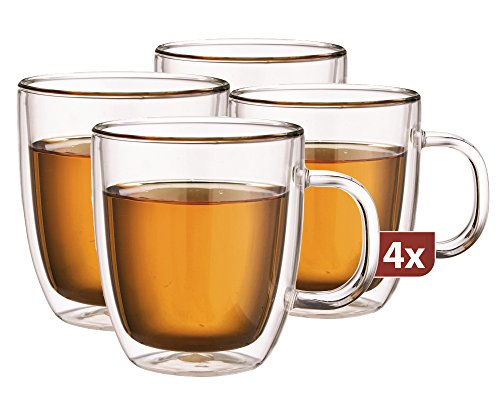 Maxxo Doppelwandige Gläser Extra Tea Set mit Henkel 4 x 480 ml, Glas mit Schwebe-Effekt, Handgefertigt, spülmaschinenfest