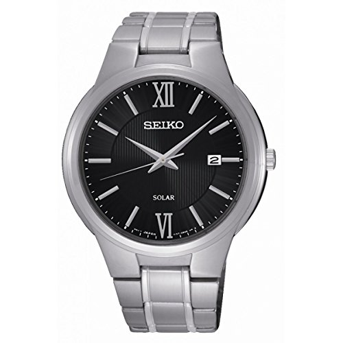 Seiko Solar Unisex automatic Watch with Black Dial Analogue Display and Stainless steel plated anthracite - SNE387P1