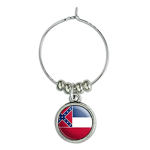 Wein Glas Charme Drink Marker State Flagge Mississippi State Flag (Mississippi State Flag)