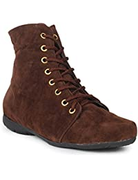 Beautiful Brown Color Velvet Women's Boots From Sheneya::SB_BROWN_36