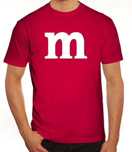 Karneval Fasching Junggesellenabschied Herren T-Shirt Gruppen & Paar Kostüm mit M Aufdruck, Größe: (Gruppe Kostüm M&m)