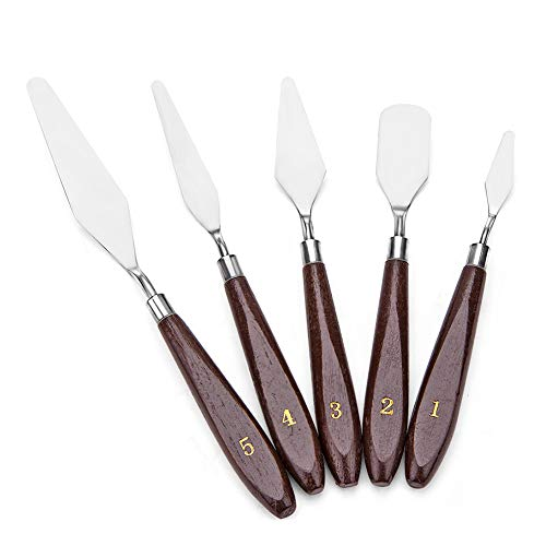 JZK® 5 unids Paleta de Acero Inoxidable Cuchillo Conjunto Mixto espatulas Cuchillos para Artista Pintura al oleo