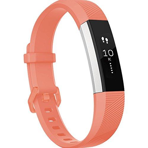 HUMENN Für Fitbit Alta HR Armband, Fitbit Alta Armband Verstellbares Sport Ersatz Band Ersatzarmband Wristband Silikonarmband Fitness Zubeh?rteil mit Metallschlie?e Small Coral