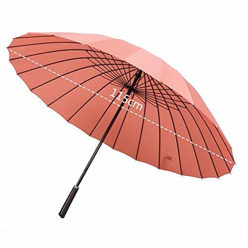 24 Le ossa lunghe ombrello Ombrello di vento grande prova a pioggia o a doppio uso uomini stelo dritto dritto ombrello Ombrello raddoppia la gente gli studenti nero,polvere