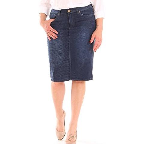 Gonna in jeans denim misto cotone stretch fantasia taglia morbida