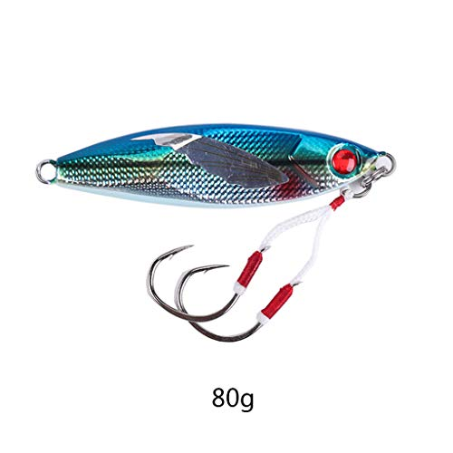 Ludzzi Fishing Lures Slow Lead Fish with Double Hooks 40/60/80/100g Fish Cast Jigs Salt Water Fishing Bait
