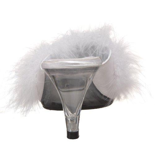 Pleaser BEL301F/W/SAT Mules Femmes Blanc