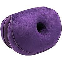 Genlesh Kissen Sitzkissen Haltungskorrektur Kissen Knopf Form Sitz Beauty Lift Hip Push Up Plüsch Kissen für Ischias Rücken Schmerzlinderung violett