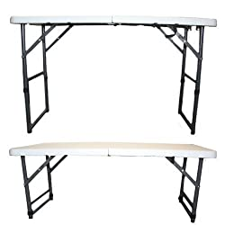 Redstone 4ft Folding Trestle Table - 3 Adjustable Heights - Extra Strong Support - Metal Securing Bolts