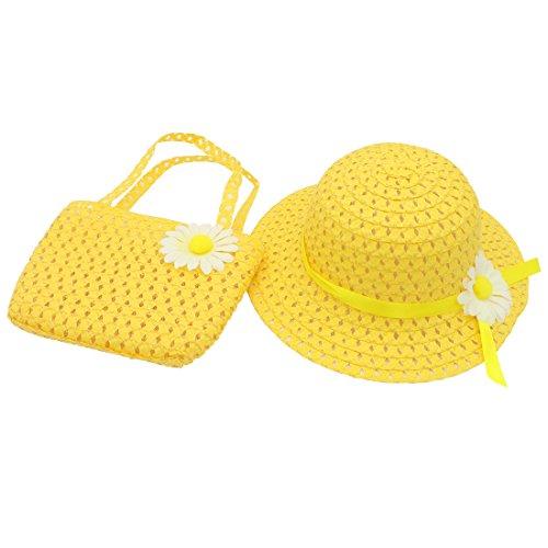 a0c9afcdbf48 YOPINDO Baby Straw Sun Hat Beach Cap con Bolso Dress Up Hat Set de Bolso 8