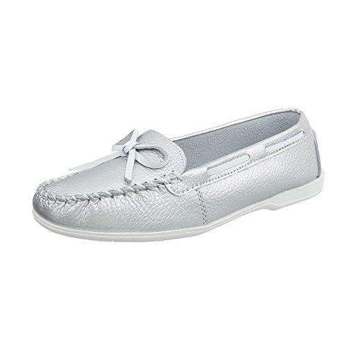 Ital-Design Mokassins Damen-Schuhe Moderne Halbschuhe Silber, Gr 39, 8118-