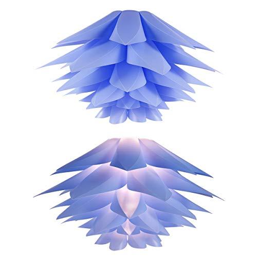 Hamimelon ABAT-JOUR Luminaire Forma Lotus Montaje DIY Puzzle (48pcs, suspensión Techo/Mesa/lámpara de pie, plástico, Azul, 50x29cm