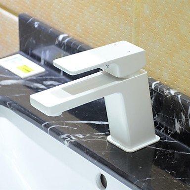 Preisvergleich Produktbild HONGLONG Art Deco einzigen Griff ein Loch in Chrom Waschbecken Wasserhahn, Weiß