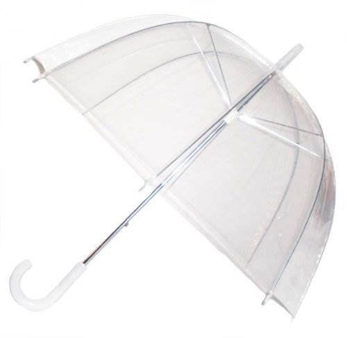 ITP Rain Umbrella Dome Birdcage Clear Transparent PVC Plastic Wedding See Through Lightweight Bubble White Handle Brolly