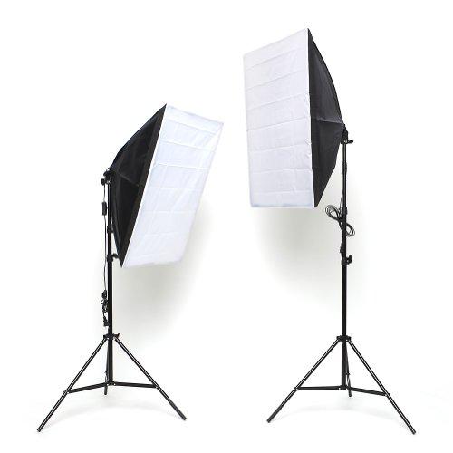 MVPower® Softbox Fotolampe Studioset mit Höhestellbare Lampenstativ 50 x 70 cm, 135W Set-2 für Fotostudio, Produktfotografie und Videoaufnahme Test