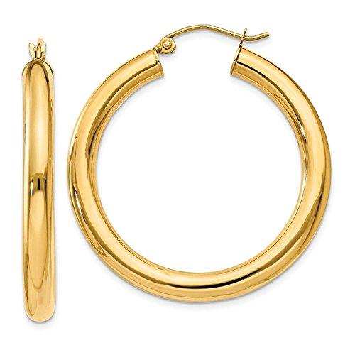 14 Karat 585 Gold Hochglanz Creolen Ohrringe Gelbgold - Breite 4 mm - Große Wählbar (35 Millimeter)