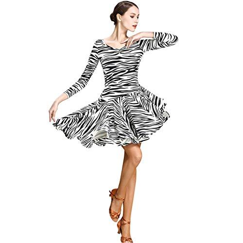 Dance Kostüm Ice - RJ Kleid Latin Dance Kleid Ice Silk Print Kostüm , Langarm Damen Performance Wettbewerb Fish Bone Rock 1Stück (Color : Black, Size : M)
