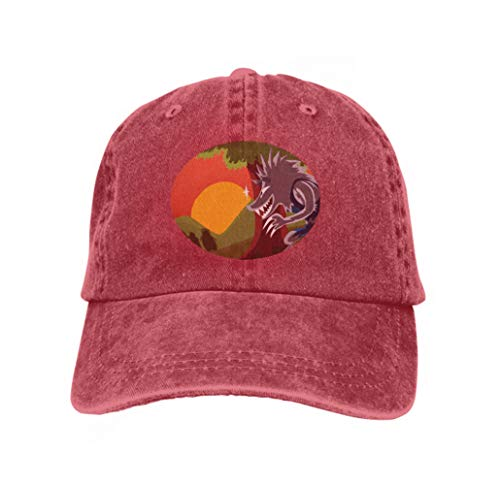 Adjustable Baseball Caps Low Profile Washed Dad Hats Big Bad Ravenous Wolf Three Juicy Pork cho Landscape Blue red ()