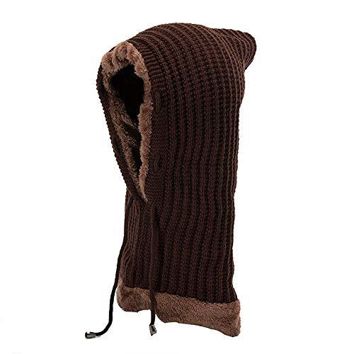 JMETRIC Beanie Hat|Strickmütze|Wintermütze|Winter Plus SAMT Gestrickte Kopfbedeckungen einteiligen Kragen Ohrenschützer Hut