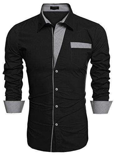 Coofandy Accendere Uomo Giù colletto a maniche lunghe a righe patchwork Camicie Casual