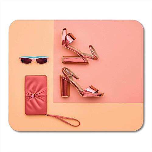 Luancrop Mauspads Minimal Pastell Bunt Glamour Metallic Pink Schuhe Heels Sonnenbrillen Flat Lay Handtasche Clutch Shiny Mouse Pad für Notebooks, Desktop-Computer Bürobedarf
