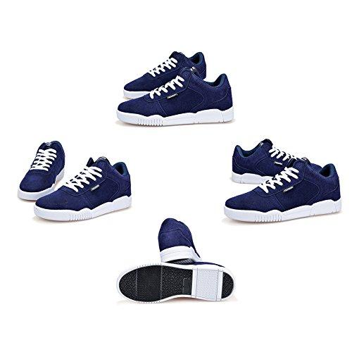 Hibote Sportschuhe für Herren Damen Classics Freizeitschuhe Sneakers Flache Laufschuhe Profilsohle Sportschuhe Schnüren Freizeitschuhe Turnschuhe Bequem & Atmungsaktiv Blau