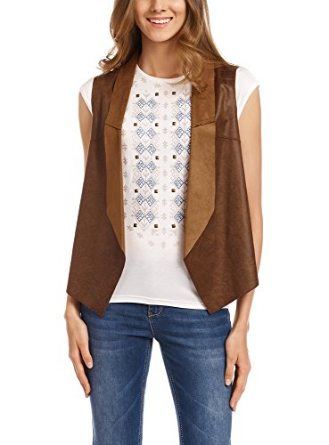 oodji Ultra Donna Gilet in Pelle Sintetica, Marrone, IT 40 / EU 36 / XS