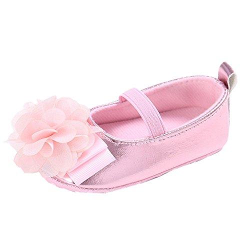 Baby Schuhe Auxma Baby-Blumen-Hefterzufuhren weiche lederne alleinige Kleinkind-Schuhe für 3-12 Monate (11 3-6 M, Rosa) (Lammfell Stiefel Knit)