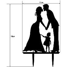 QHGstore Novio de la novia con el cabrito Topper de acrílico de la torta de boda insertó las decoraciones de la boda de la tarjeta negro 18*11*0.25cm