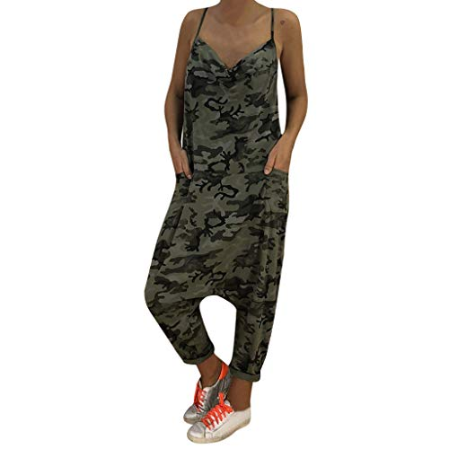 AMUSTER Damen Jumpsuit Sommer Overall Romper Lang Hosen Overall Playsuit Frauen Camouflage Print Lose Overalls Strampler V-Ausschnitt Harem Pants Sport Slacks
