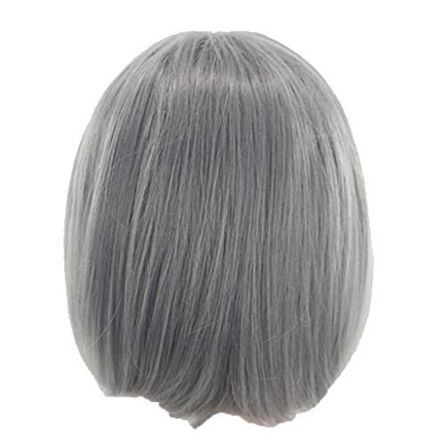 DOGZI Perücke Synthetik Perücke Hitzeresistente Perücken, Europa Und Die Vereinigten Staaten Perücken Weibliche Graue Mode Kurzes Haar Afrikanisches Haar (Graues Halloween Perücke Haar)