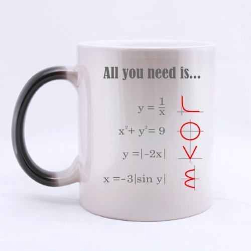 XOX-T Smart Design Math Style LOVE Pattern All you need is LOVE Heat Color Changing Mug Magic Coffee Mug Ceramic/11 Oz Morphing Mug - Best Gift For Birthday,Christmas And New Year