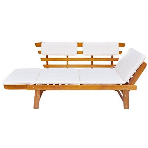 Festnight 2-in-1 Outdoor Sonnenliege Gartenbank Sitzbank aus Massives Akazienholz Multifunktionsbank Kombiniert Stil (155-190) x 66 x 75 cm - 2