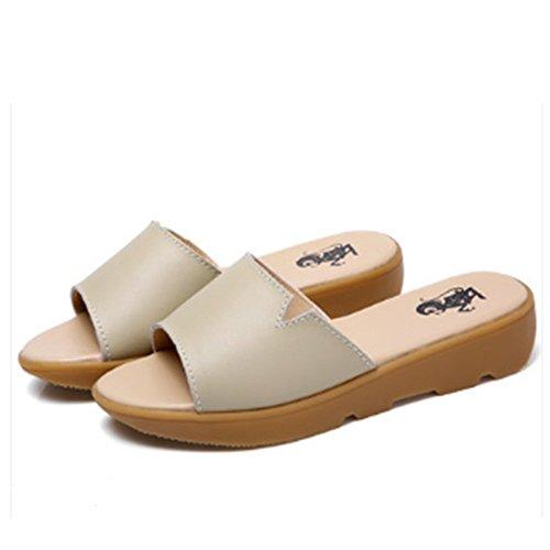 Confortevole Sandali freddi di estate Pattini piani delle donne incinte Pendenza con i pistoni alla moda Pantofole inferiori piani Femmina dei sandali di cuoio (3 colori opzionali) (formato facoltativ D