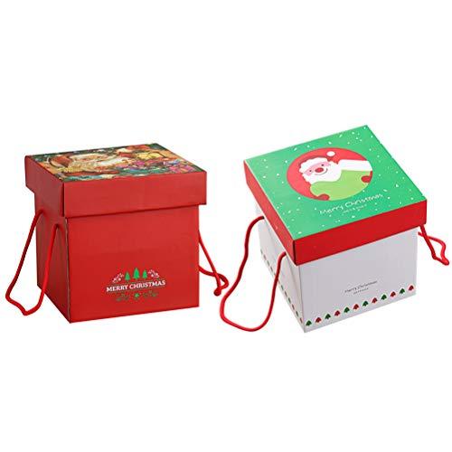 Healifty 2 x Weihnachtsgeschenk-Boxen für Süßigkeiten, tragbar, Weihnachtsmann mit Seil
