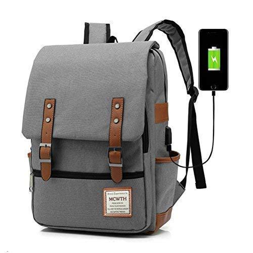 Laptop Rucksack 15,6 Zoll mit USB für Herren und Damen Schulrucksack Multifunktionsrucksack Tagesrucksack für Geschäft Wandern Reisen Camping - Grau 25 Component Audio