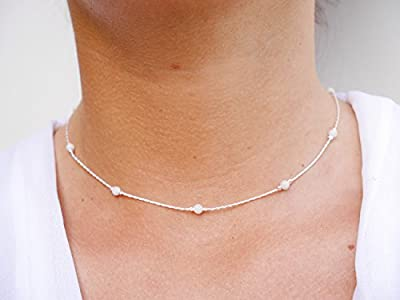 Collier ras du cou argent - chaine serpent argent 925 - perles pierres de lune blanc transparent - choker argent - tour de cou chaine fine