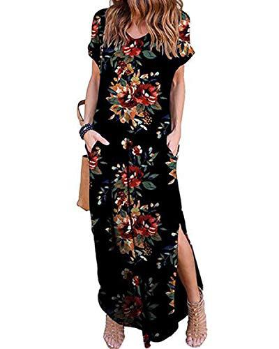 VONDA Damen Kleid Kurzarm Sommerkleid T-Shirt Lange Kleider Elegant Freizeitkleid Rot L
