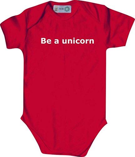 Baby Body; Be a unicorn; Farbe Rot; Größe 86-92 (18-23 Monate)