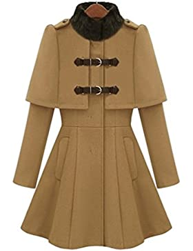 WanYang Mujeres Capa De Otoño E Invierno De Manga Larga Abrigo De Moda Elegante Color Sólido De Mujer